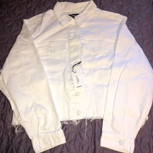 Express White Distressed Denim Jacket